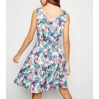 Mela White Tropical Floral Button Front Dress New Look