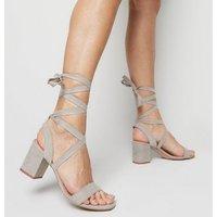 Grey Suedette Ankle Tie Block Heels New Look Vegan