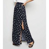 Black Ditsy Floral Side Split Maxi Skirt New Look
