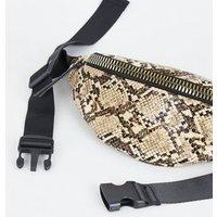 Black Faux Snake Chunky Zip Bum Bag New Look