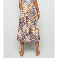 Petite Brown Floral Stripe Pleated Midi Skirt New Look