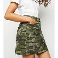 Girls Green Camo Ripped Denim Skirt New Look