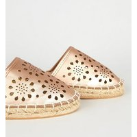 Wide Fit Rose Gold Laser Cut Espadrilles New Look