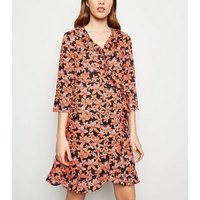 Blue Vanilla Orange Floral Frill Wrap Dress New Look