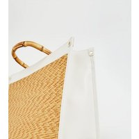 White Woven Bamboo Handle Bag New Look