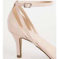 Wide Fit Pale Pink Patent Strappy Stiletto Heels New Look Vegan