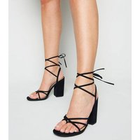 Black Suedette Strappy Ankle Tie Heels New Look