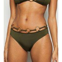 Khaki Multi Ring Hipster Bikini Bottoms New Look