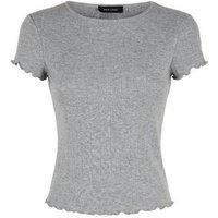 Grey Marl Pointelle Frill Trim T-Shirt New Look