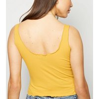 Mustard Frill Trim Crop Vest New Look