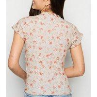 Green Floral Frill Trim Rib T-Shirt New Look