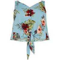 Curves Blue Floral Tie Front Button Up Top New Look