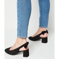 Wide Fit Black Suedette Bow Slingbacks New Look