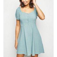 Mint Green Linen-Look Puff Sleeve Milkmaid Dress New Look