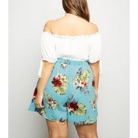 Curves Blue Floral Wide Leg Shorts New Look