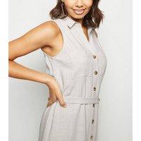 Stone Linen Look Sleeveless Shirt Dress New Look