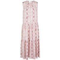 Pink Snake Print Tiered Midi Smock Dress New Look