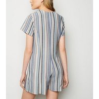 Blue Stripe Linen-Look Button Up Playsuit New Look