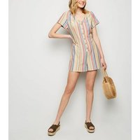 Red Stripe Linen Look Button Up Playsuit New Look
