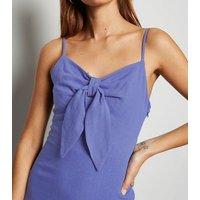 Blue Linen Look Tie Front Midi Dress New Look