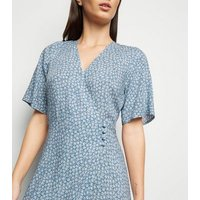 Blue Ditsy Floral Button Up Midi Wrap Dress New Look