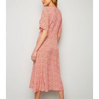 Red Ditsy Floral Button Up Wrap Midi Dress New Look