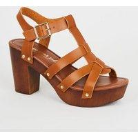 Tan Leather-Look Strappy Block Heels New Look