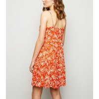 Red Tropical Tiered Sundress New Look