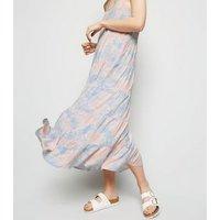 Blue Tie Dye Tiered Hem Maxi Dress New Look