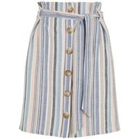 Pink Stripe Linen Look Paperbag Mini Skirt New Look