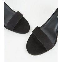 Black Suedette 2 Part Flared Block Heels New Look Vegan