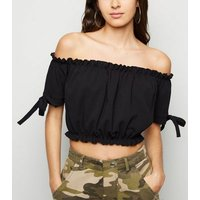Cameo Rose Black Frill Bardot Crop Top New Look