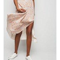 White Floral Side Split Midi Skirt New Look