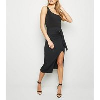Black Ribbed Belted Buckle Skirt New Look