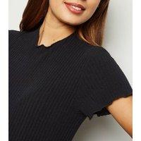 Maternity Black Ribbed Frill Trim Midi Dress New Look