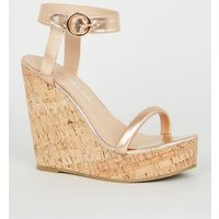 Rose Gold Tube Strap Cork Wedges New Look