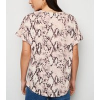Pink Snake Print Frill Sleeve T-Shirt New Look