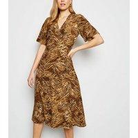 Brown Tiger Print Midi Wrap Dress New Look