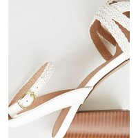 White Woven Strap Wood Flare Heel Sandals New Look