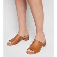 Tan Leather-Look Wood Heel Mules New Look Vegan