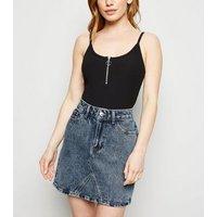 Petite Pale Blue Acid Wash Denim Skirt New Look