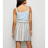 Petite Pink Stripe Linen Look High Waist Skirt New Look