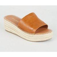 Wide Fit Tan Leather-Look Espadrille Sliders New Look Vegan