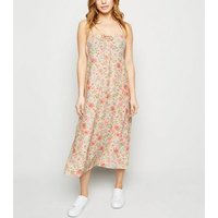Petite White Floral Tie Front Midi Dress New Look