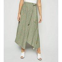 Green Floral Hanky Hem Midi Skirt New Look