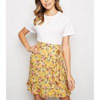 Mustard Floral Ruffle Trim Mini Skirt New Look