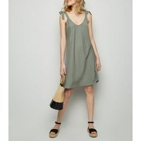 Cameo Rose Khaki Tie Shoulder Mini Dress New Look