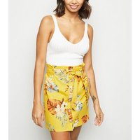 Yellow Tropical Linen Blend Paperbag Skirt New Look