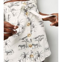 White Palm Animal Print Linen Blend Mini Skirt New Look