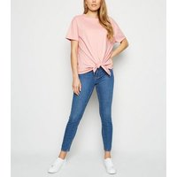 Tall Coral Tie Front T-Shirt New Look